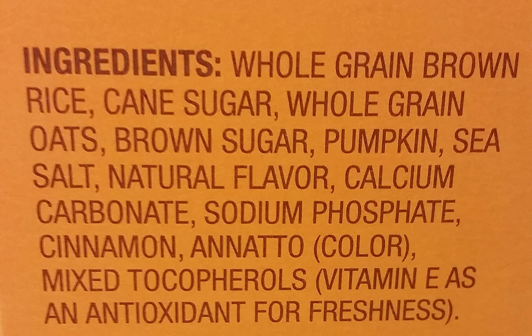 Pumpkin Cereal Ingredients